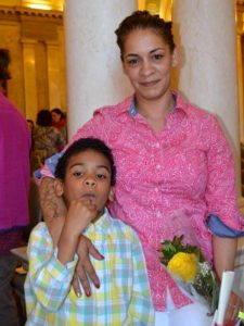 Clemente student and her son at graduation